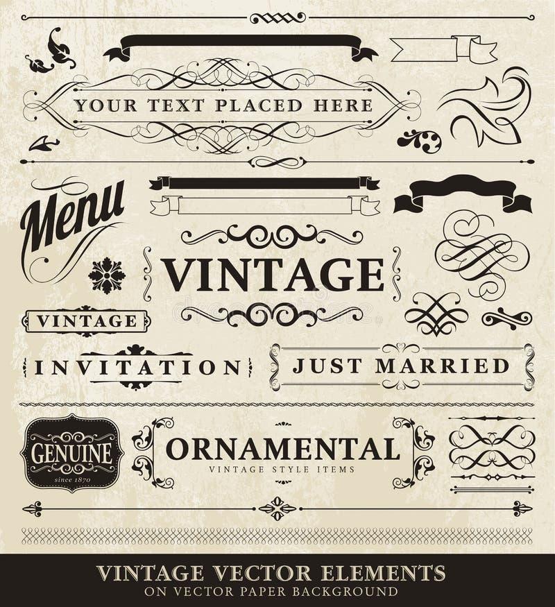 Vector uitstekende stijlelementen royalty-vrije illustratie