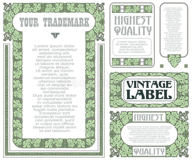 Vector uitstekende stijletiketten met druiven voor decoratie en ontwerp stock illustratie