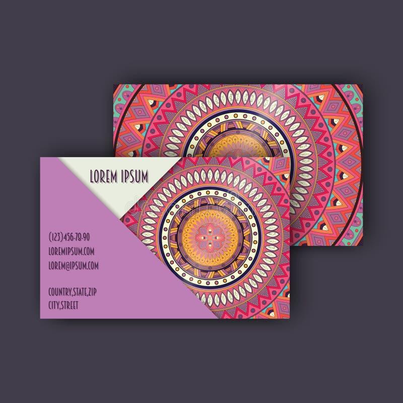 Vector uitstekende visitekaartjereeks Bloemenmandalapatroon en orn royalty-vrije illustratie