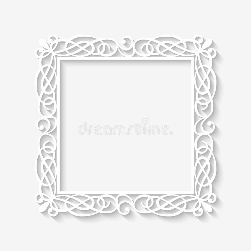 Vector uitstekende witte kaderachtergrond royalty-vrije illustratie