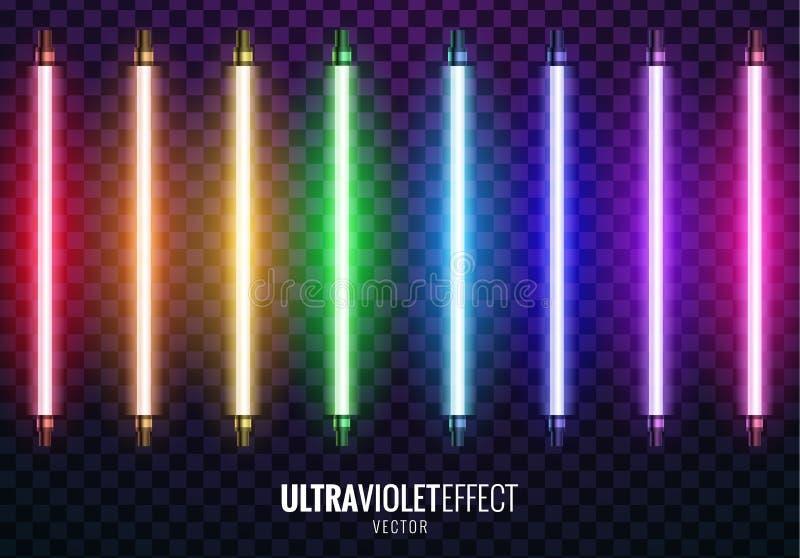 Vector of ultraviolet light. Vector image of ultraviolet lamps. Illustration of realistic light. Symbol of modern fashion. Set of different color shades vector illustration
