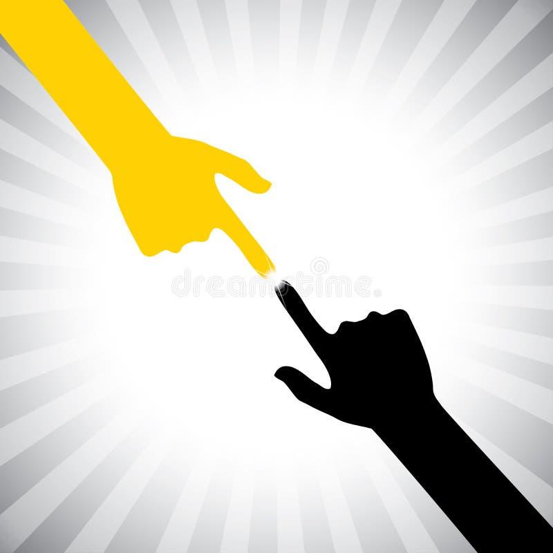 Vector um ícone de duas mãos que tocam-se em com piedade, Ca ilustração stock