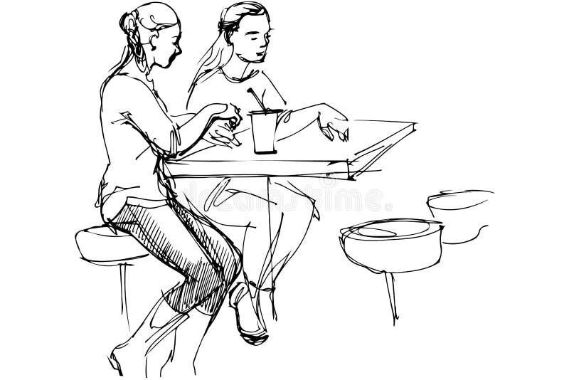Vector um esboço de dois amigos em uma tabela em um café ilustração royalty free