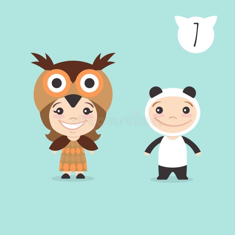 Vector uma ilustração de dois caráteres bonitos felizes das crianças ilustração stock