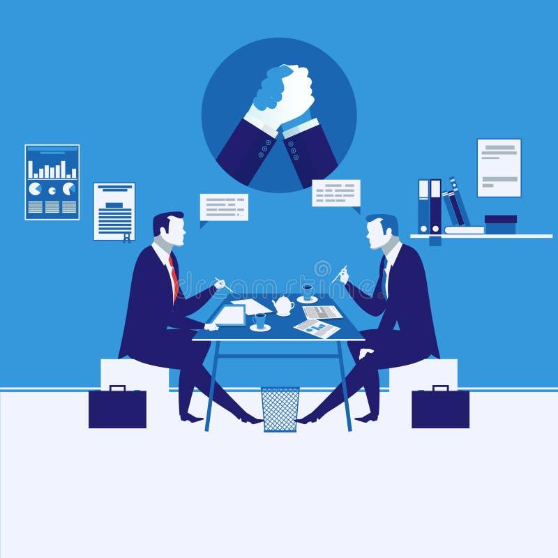 Vector uma ilustração de dois homens de negócios que têm a reunião, símbolo da luta romana de braço ilustração royalty free