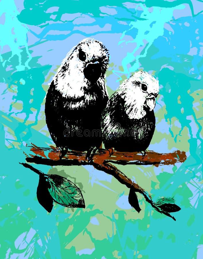 Vector uma ilustração de dois pássaros, papagaios no eps ilustração royalty free