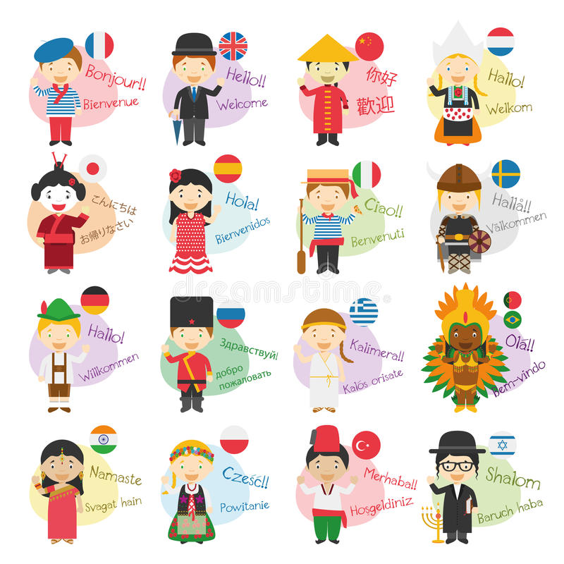 Vector uma ilustração de 16 personagens de banda desenhada que dizem o olá! e dê-a boas-vindas em línguas diferentes ilustração royalty free