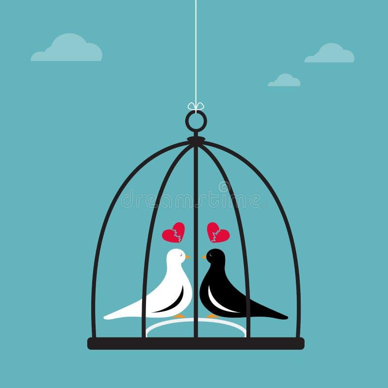 Vector uma imagem de dois pássaros em uma gaiola ilustração royalty free