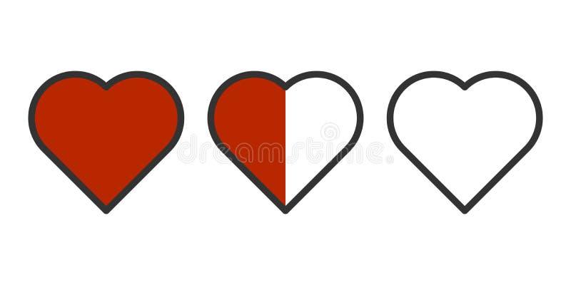 Vector uma imagem de três corações em seguido - enchido completamente, metade da suficiência e sem derramar Facilmente esboço Iso ilustração do vetor