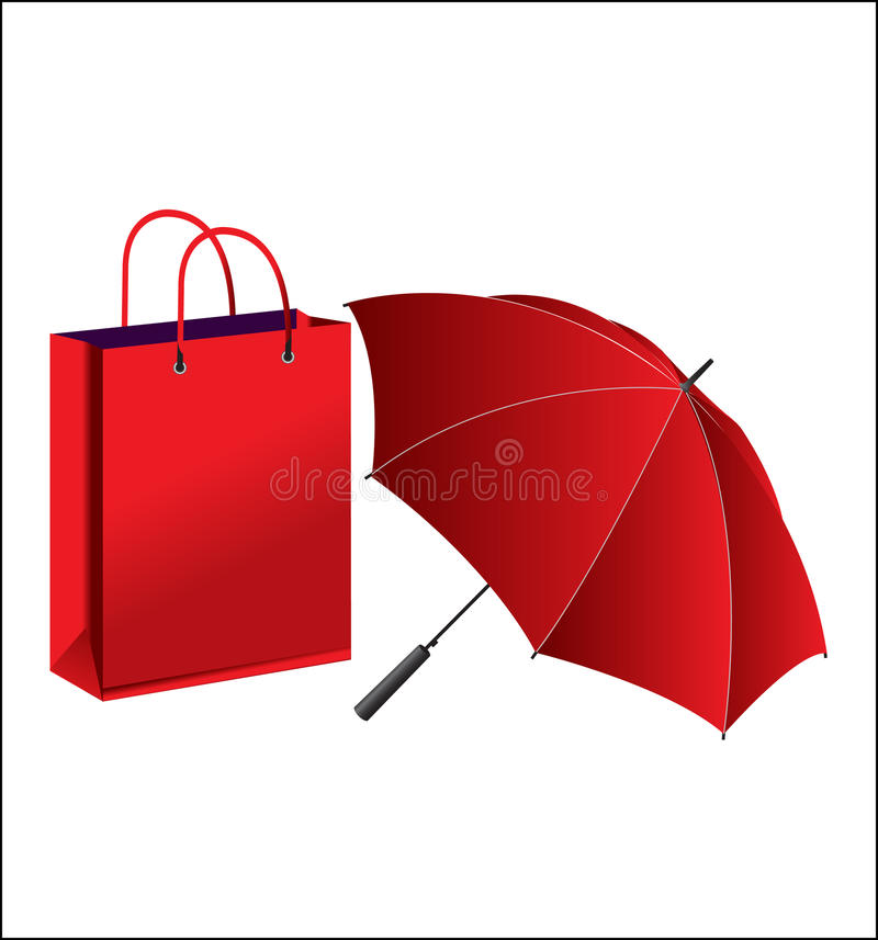 Vector umbrella and paper bag. On white background stock illustration