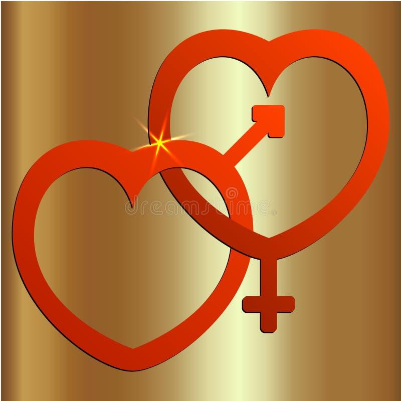 Vector un'illustrazione astratta di due cuori con i segni maschii e femminili illustrazione vettoriale