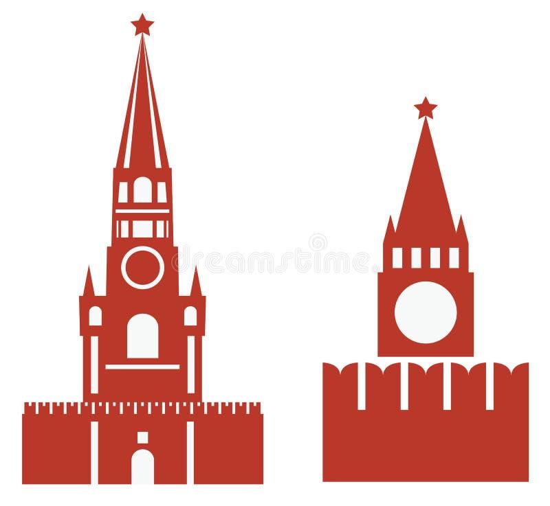 Vector un'illustrazione delle due variazioni della torre e del req di spasskaya illustrazione di stock