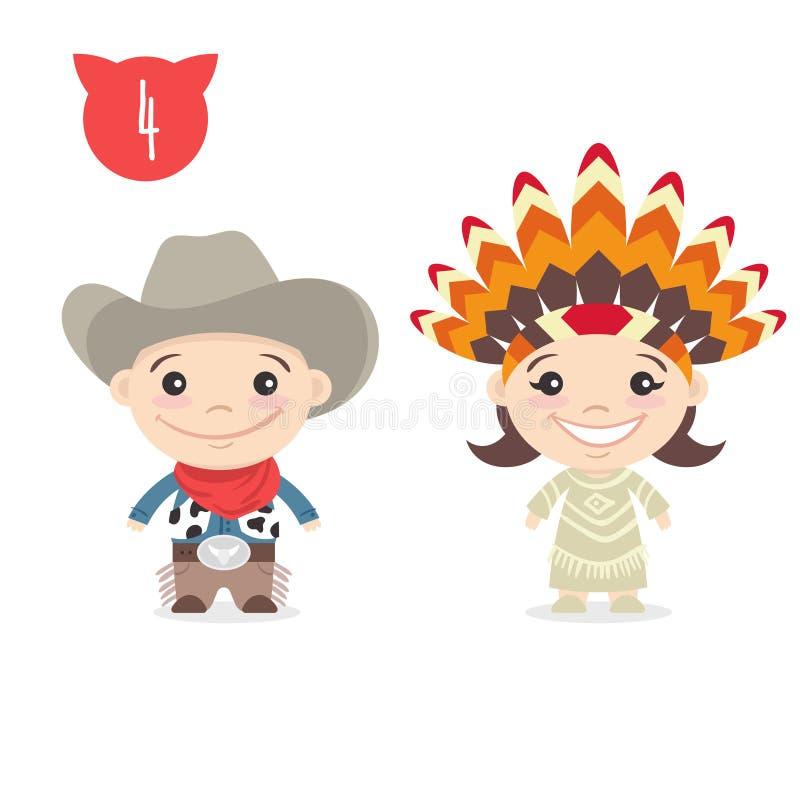 Vector un'illustrazione di due caratteri svegli felici dei bambini illustrazione di stock