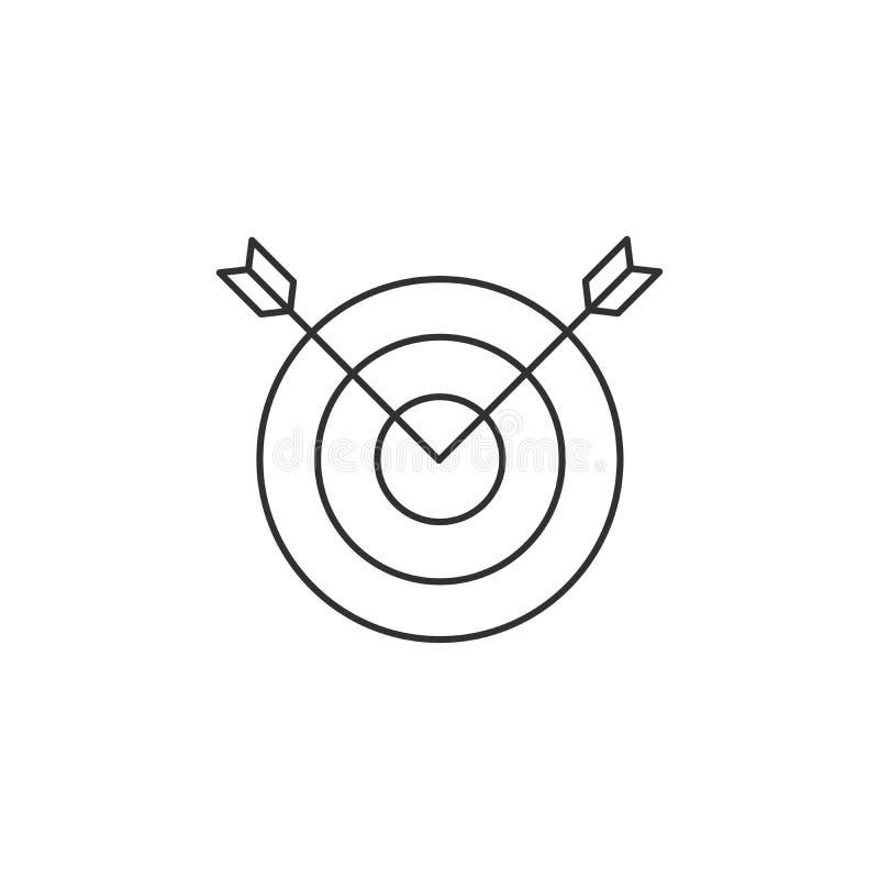 Vector un'immagine lineare di due frecce che attaccano da un obiettivo, una linea piana icona illustrazione di stock