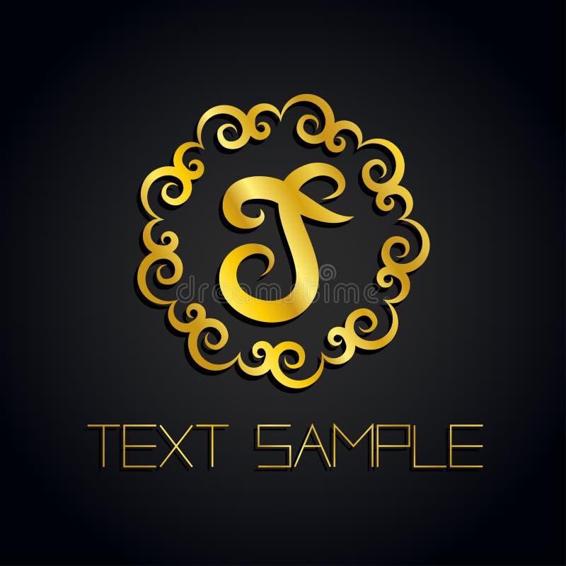 Vector un logo della lettera dell'oro o un'etichetta, icona per la società Uso per l'identità, annuncio, alfabeto immagine stock