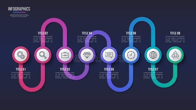 Vector una progettazione infographic di 8 punti, grafico di cronologia, illustrazione vettoriale