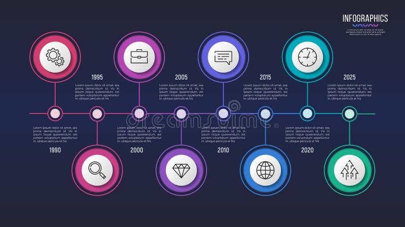 Vector una progettazione infographic di 8 punti, il grafico di cronologia, la presentazione royalty illustrazione gratis