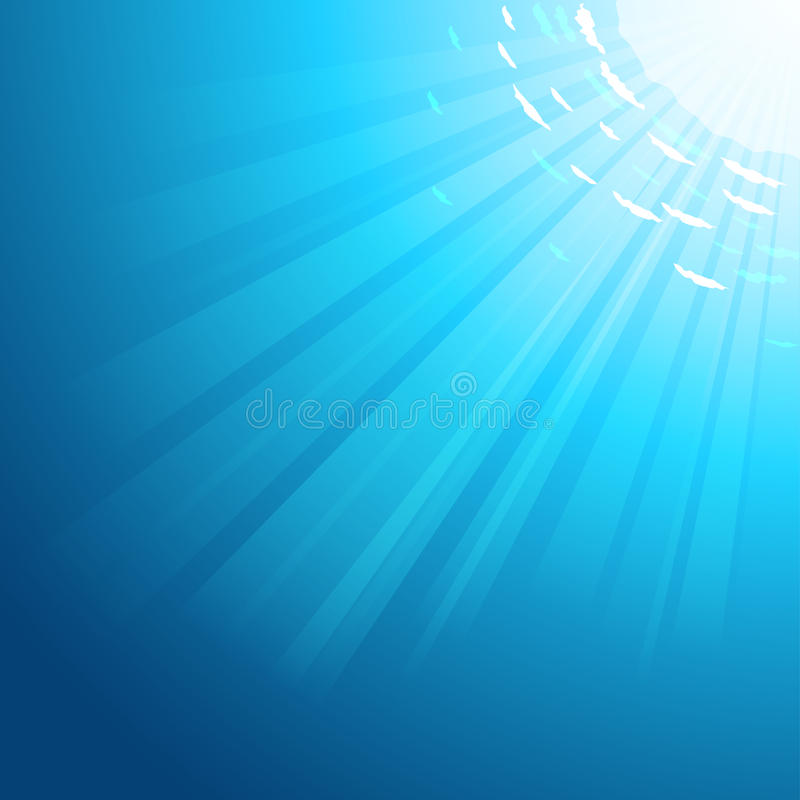 Vector Underwater deep sea background with the sun rays pass through the water. EPS 10 file royalty free illustration