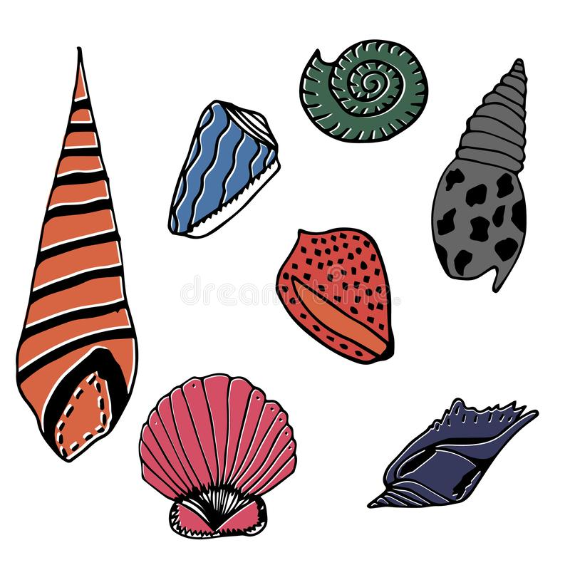 Vector underwater sea cartoon. Various seashells. Great for web page background, wrapping paper, cards,notebook and invitation.  vector illustration