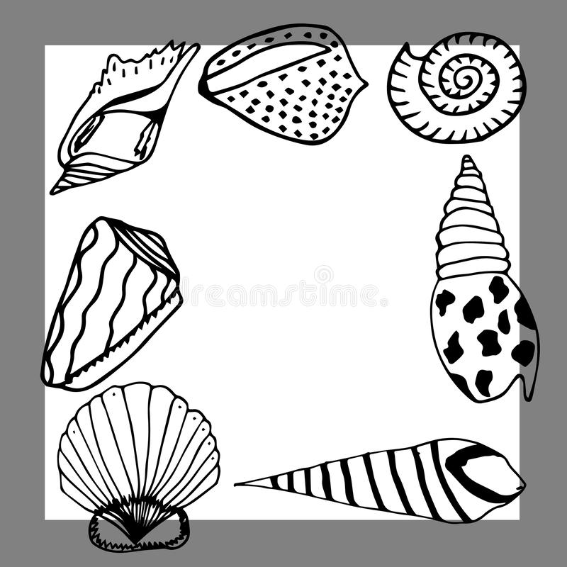 Vector underwater sea cartoon. Various seashells. Great for web page background, wrapping paper, cards,notebook and invitation.  royalty free illustration