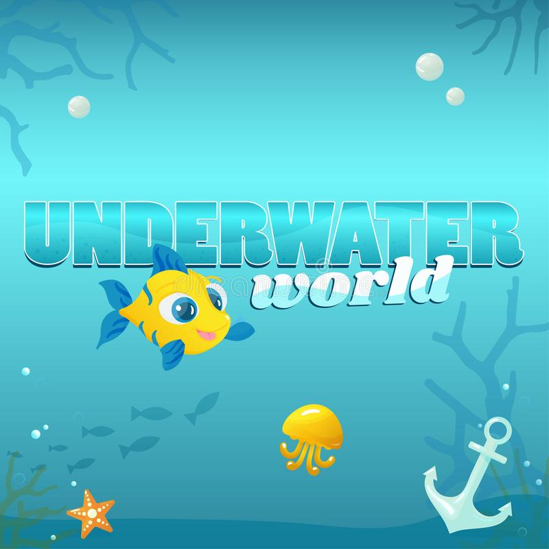 Underwater World Illustration with Elements stock illustration