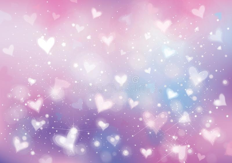 Vector unicorn background with hearts, lights and stars. stock illustration