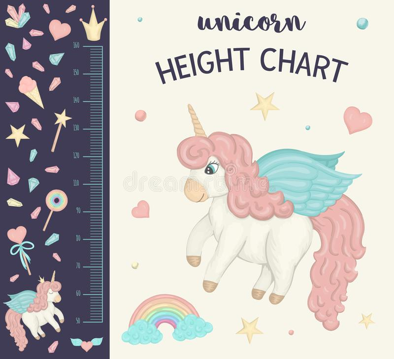Vector unicorn height chart. Picture with pink girlish elements for children. Measurement Scale with rainbow,. Stars, cloud, magic wand, crown, crystals stock illustration
