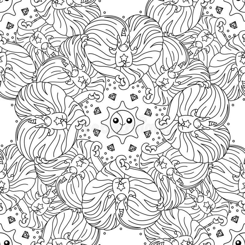 Vector unicorn pattern coloring page stock illustration