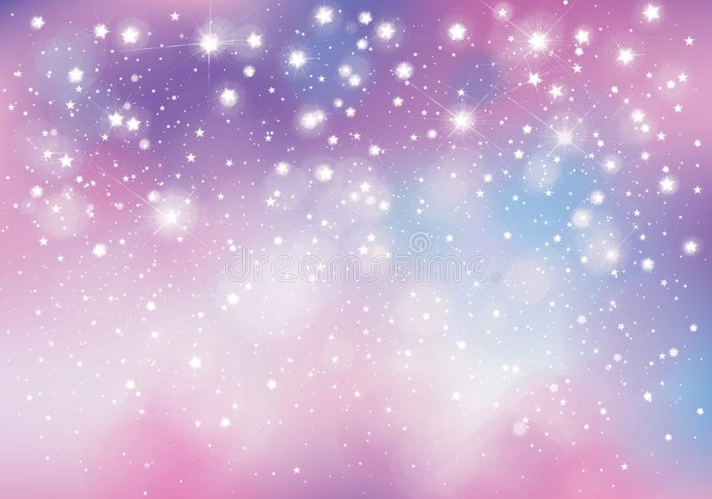 Vector unicorn, sparkling background. Vector unicorn, sparkling background with lights and stars stock illustration