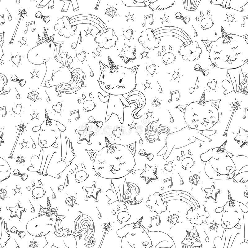 Vector unicorns. Caticorn. Cat, dog, pony with horn and rainbow. Fantasty vector icons. Cute kindergarten pattern for vector illustration