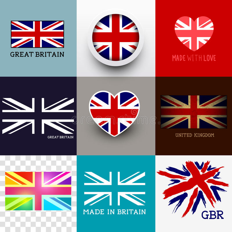 Free Vector Union Jack Flag Collection Royalty Free Stock Photography - 40449747