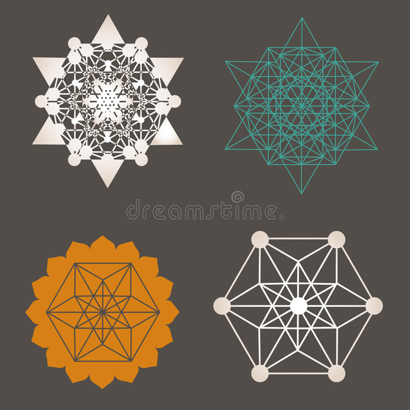 Sacred geometry unique design collection royalty free illustration