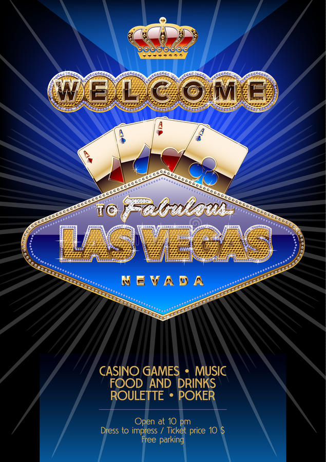 Vector unique flyer for party in casino in Las Vegas royalty free illustration