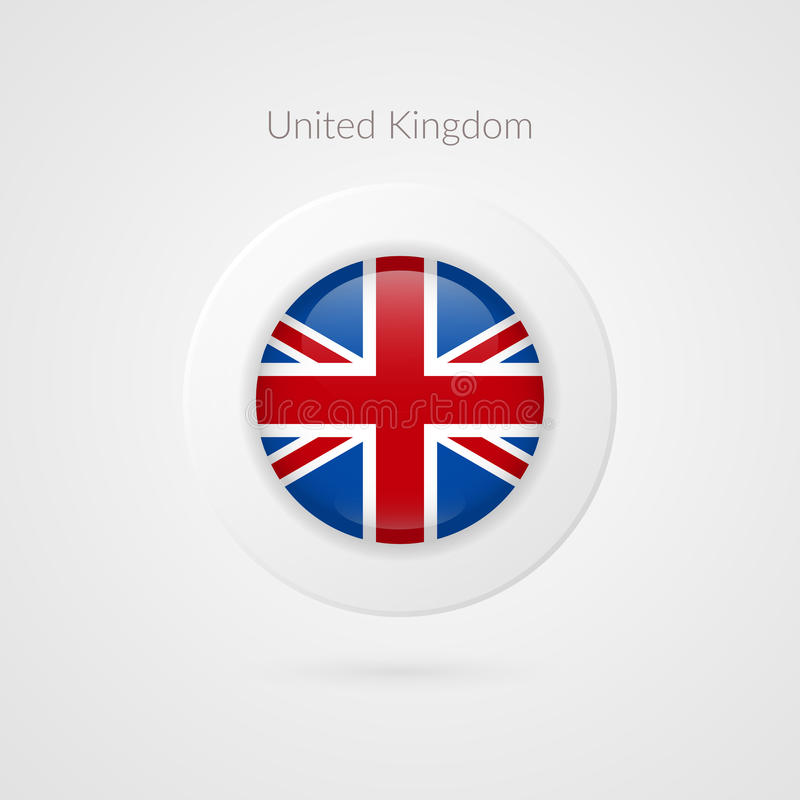 Vector United Kingdom flag sign. Circle isolated symbol. British illustration icon for travel, advertisement, design, logo, events vector illustration