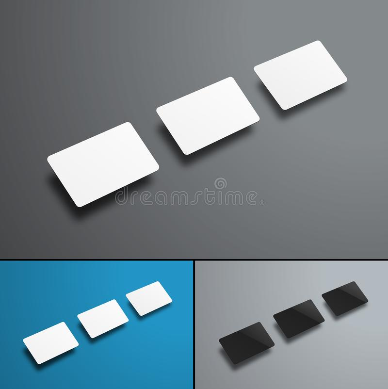 Vector universal mockups of three bank or gift cards isolated on stock illustration