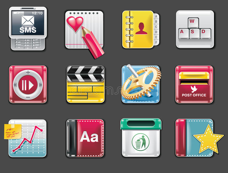 Download Vector Universal Square Icons. Part 4 (gray) Stock Photo - Image: 12173350