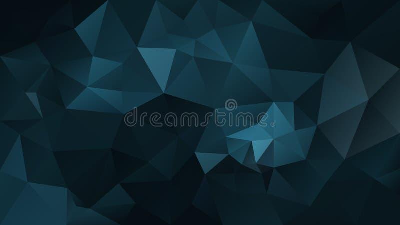 Vector unregelmäßigen polygonalen Hintergrund - Dreieckniedriges Polymuster - dunkle Erdölblaufarbe stock abbildung