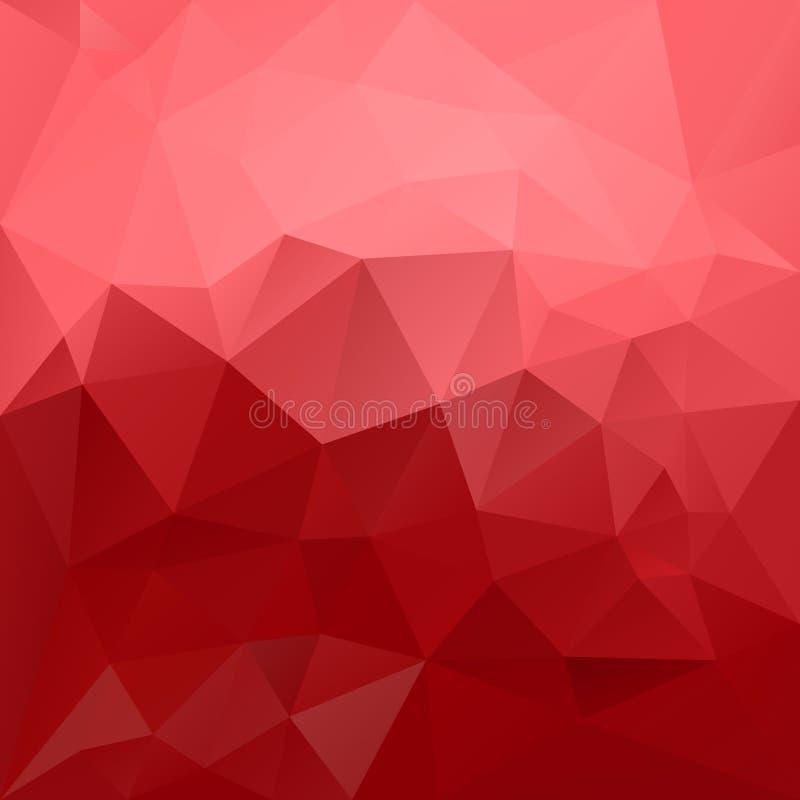 Vector unregelmäßigen polygonalen Hintergrund - Dreieckniedriges Polymuster - Farbe des Erdbeerroten und Pastellrosas vektor abbildung