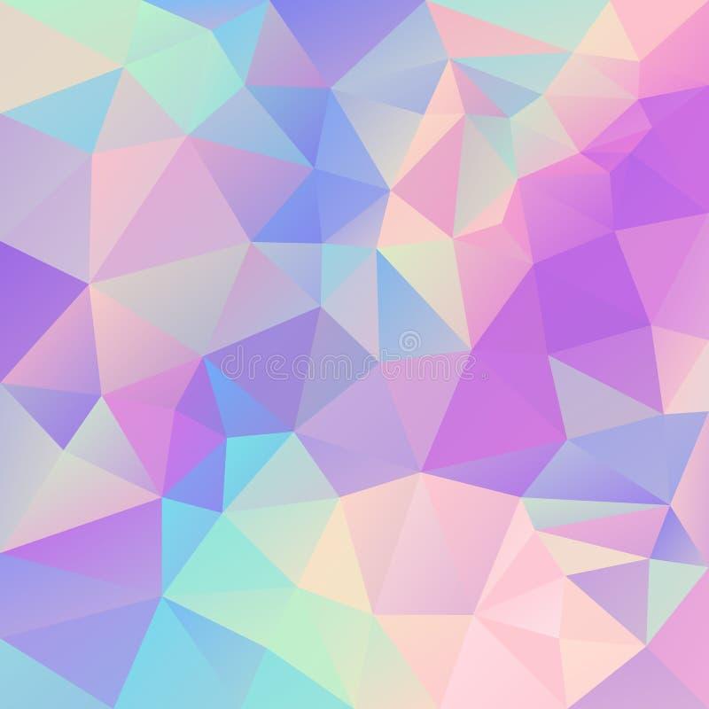 Vector unregelmäßigen polygonalen Hintergrund - Dreieckniedriges Polymuster - nettes Pastelleinhornfarbspektrum - Hologramm lizenzfreie abbildung