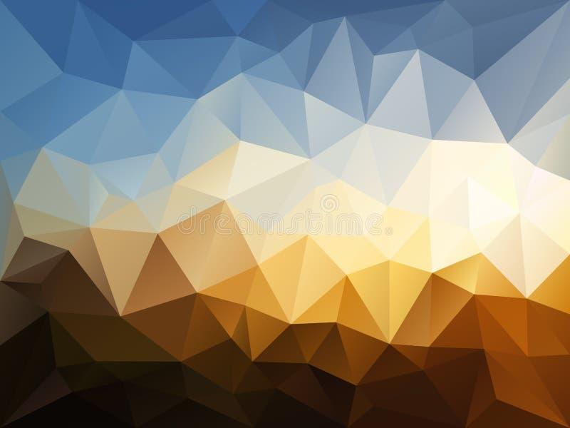 Vector unregelmäßigen Polygonhintergrund mit einem Dreieckmuster in der blauen, beige, braunen Farbe - Himmel über Sandwüstelands lizenzfreie abbildung