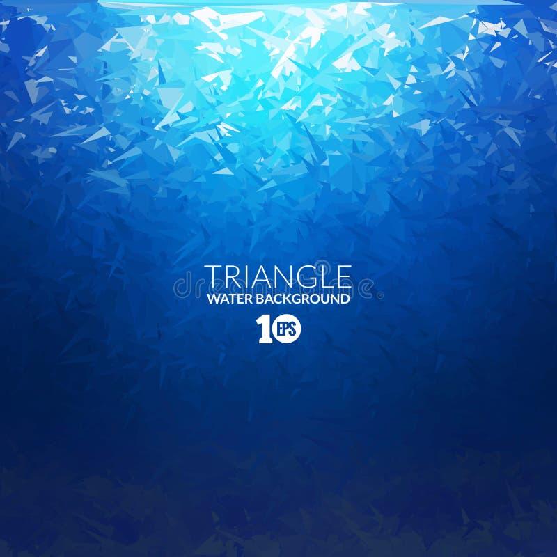 Vector Unterwasserhintergrund des abstrakten Dreiecks mit Sonnenlicht, abstrakte Beschaffenheit, abstrakter Raumhintergrund, Zusa lizenzfreie abbildung