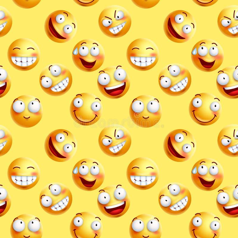Vector ununterbrochenes Muster der smileytapete mit nahtlosen Gesichtsausdrücken vektor abbildung