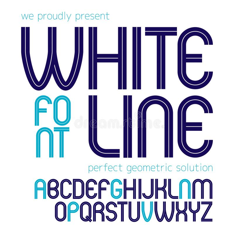 Vector upper case rounded alphabet letters made with white lines, best for use in logotype design in telecommunication. Theme royalty free illustration