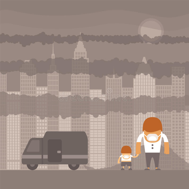 Vector urban ecology concept royalty free illustration