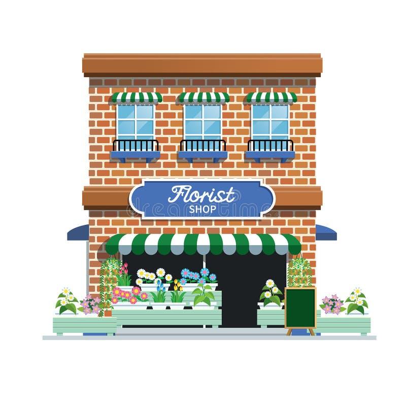 Florist shop. Vector of urban florist shop in white background stock illustration