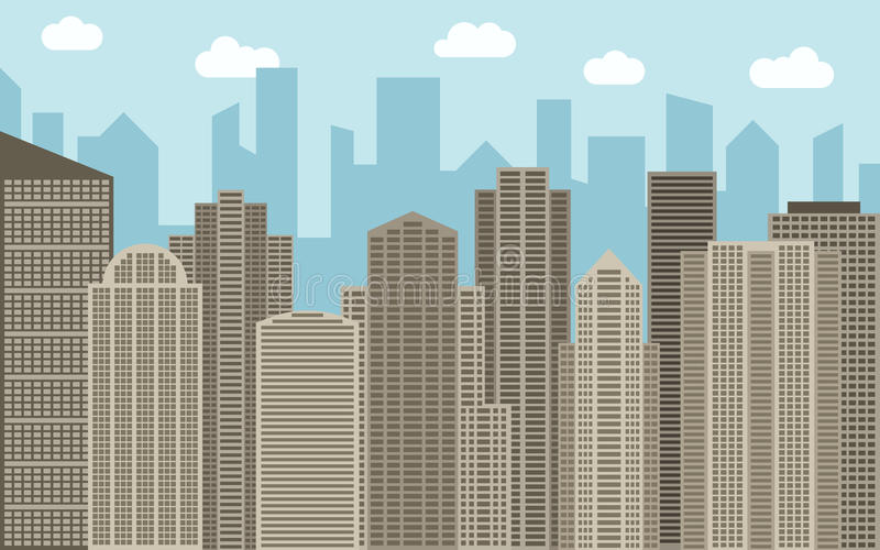Vector urban landscape illustration. Street view with brown cityscape, skyscrapers and modern buildings at sunny day. City space in flat style background stock illustration