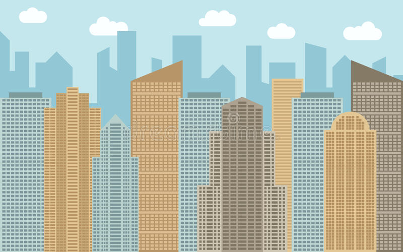 Vector urban landscape illustration. Street view with cityscape, skyscrapers and modern buildings. At sunny day. City space in flat style background concept stock illustration