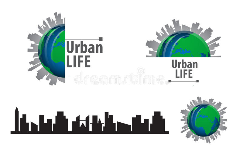 Vector urban life globe and city scape silhouette design logo. Eps 10 vector vector illustration