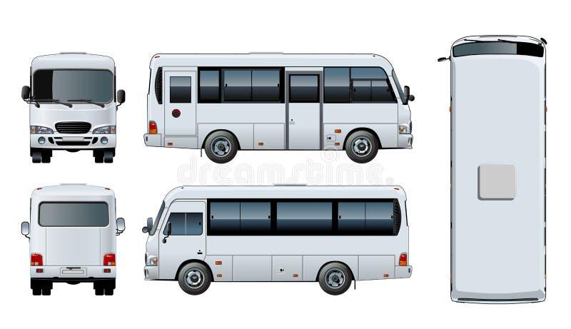 Vector urban passenger mini-bus mock-up royalty free illustration