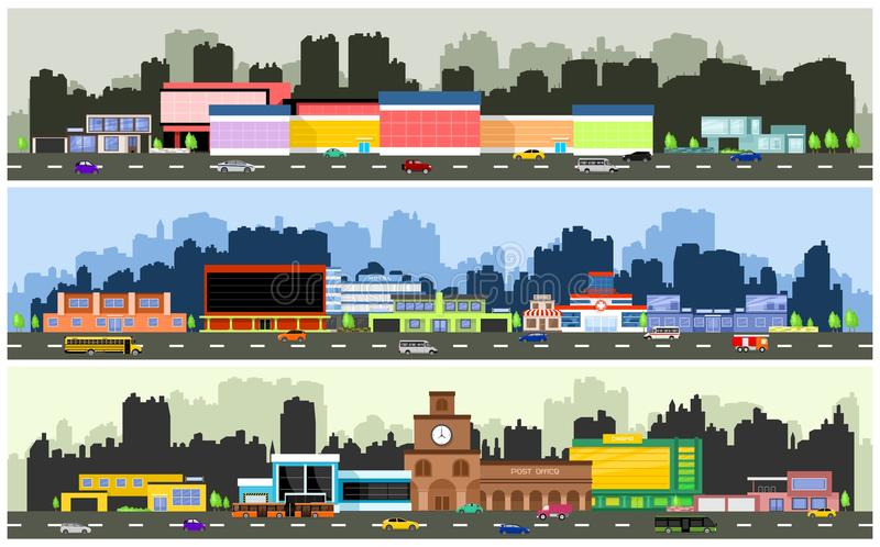 Vector urban streets. With various urban buildings, houses, shops, hotels and supermarkets stock illustration